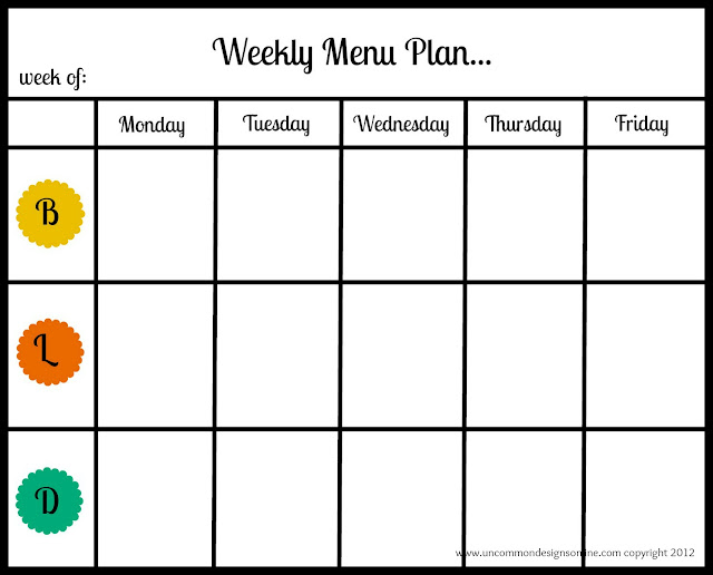Weekly Menu Plan Printable