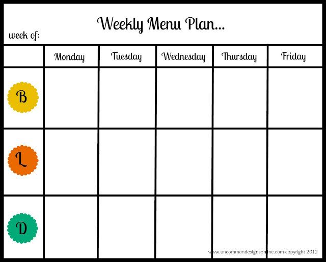 free weekly menu planner template