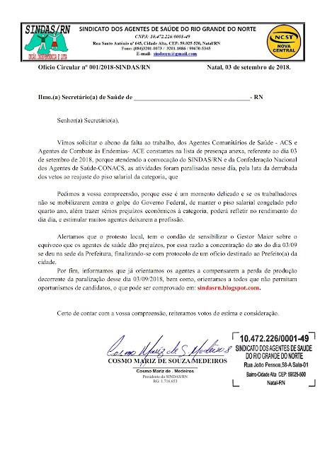 OFÍCIO COM LISTA PARA SMS