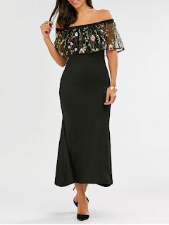 Embroidered Off Shoulder Floral Maxi Evening Dress - Black
