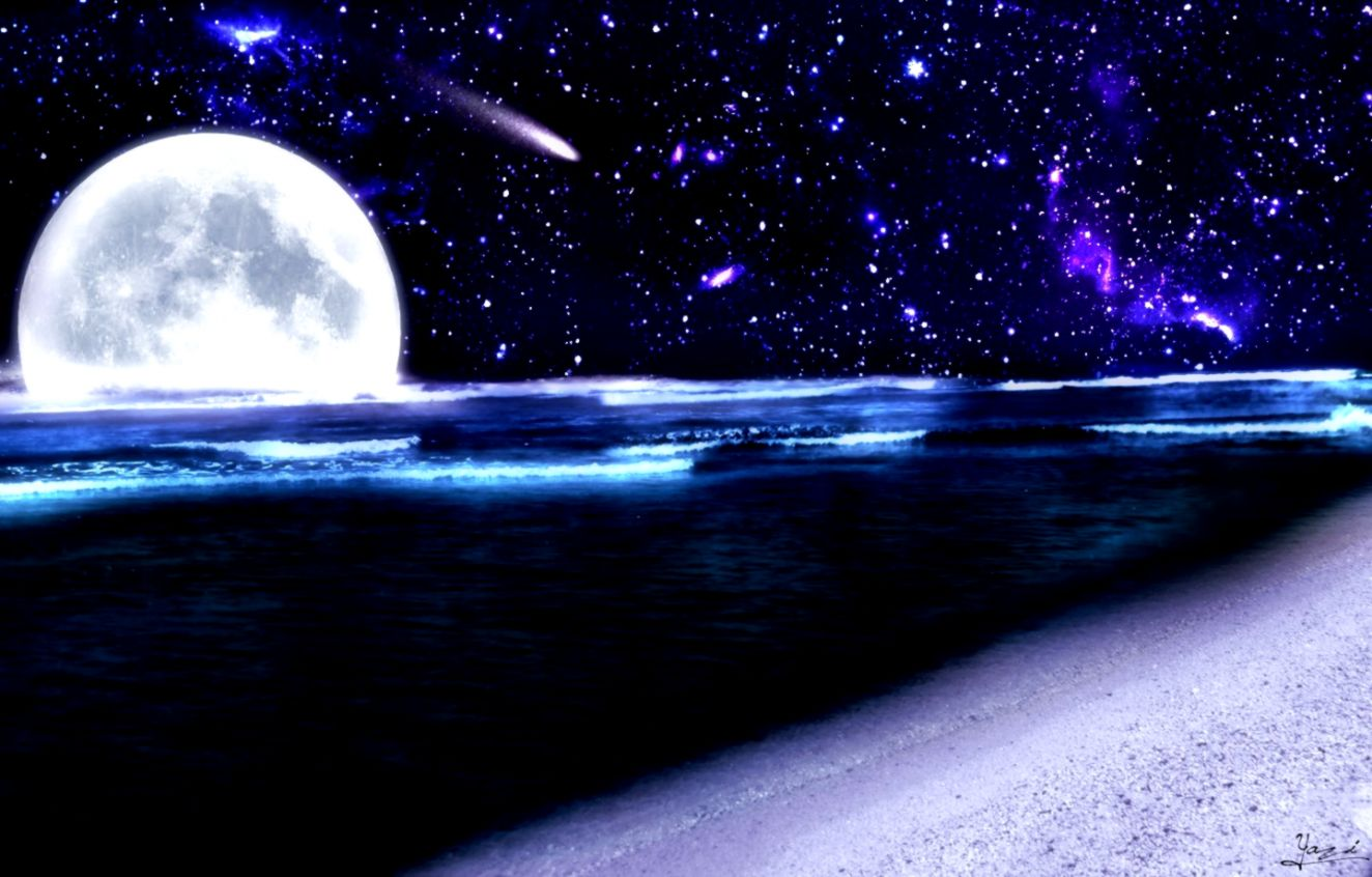The Beach At Night With Stars Wallpapers Hd Wallpapers Every Day