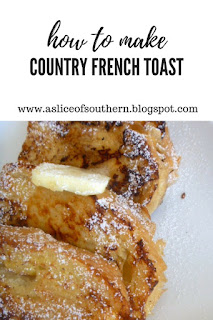Country French Toast: Light and tender, fluffy thick pieces of country br bead fried to a golden brown, and smothered in real maple syrup - Slice of Southern