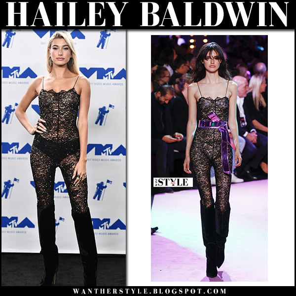 Hailey Baldwin in sheer black lace jumpsuit at MTV Video Music Awards celebrities in alexandre vauthier 2017