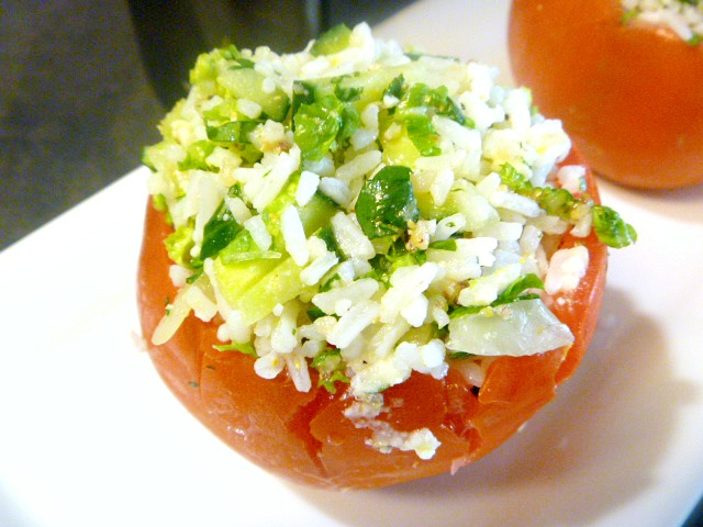 Greek Style Stuffed Tomatoes are anything but boring. Brimming with fresh ingredients and loaded with bright flavors from Greece.  Slice of Southern