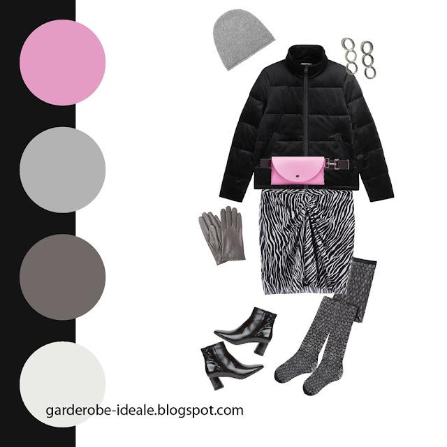 Сочетание черного пуховика и розовой сумки на поясе