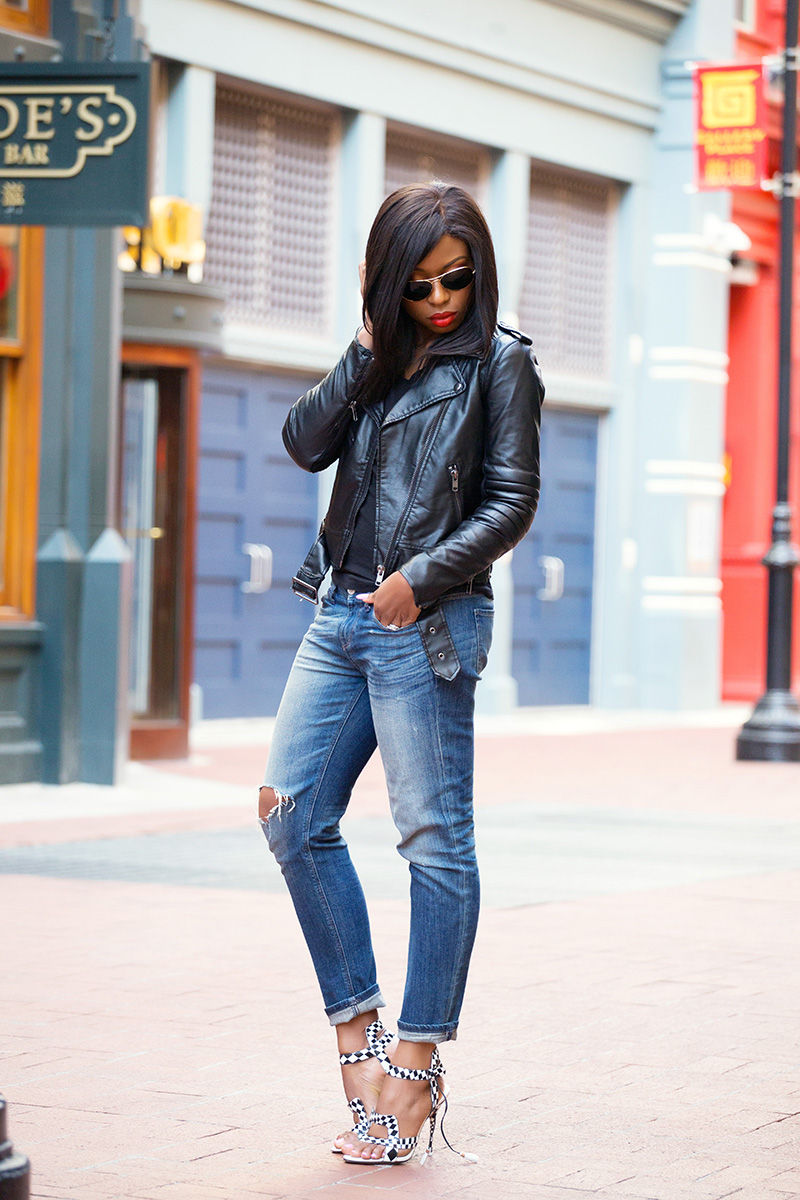 biker chic, leather jacket, casual style, sophia webster, www.jadore-fashion.com
