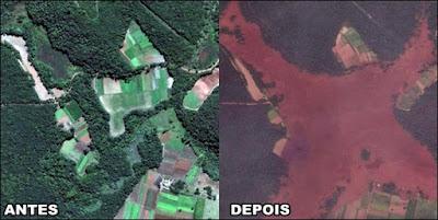 antes e depois da barragem da mineradora Vale