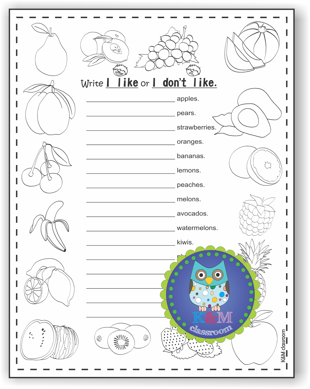 Worksheets Esl Grammar Worksheets km classroom esl grammar with fruits i like dont printable worksheets