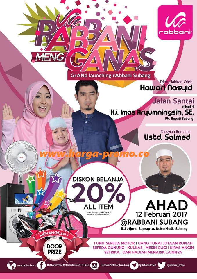 Promo RABBANI Subang Grand Launching Diskon Belanja 20%