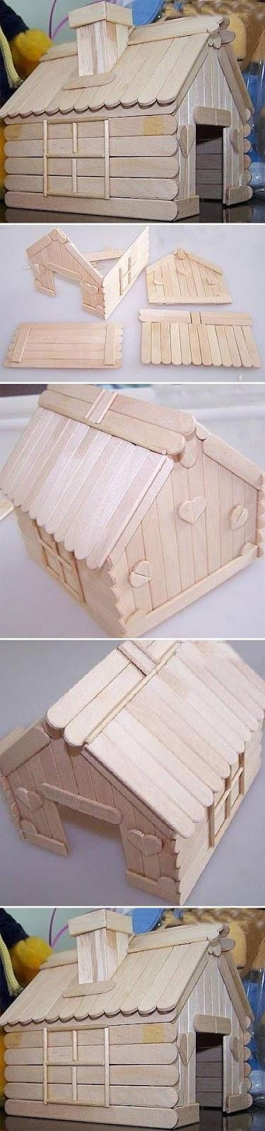 Casita hecha con palos de madera