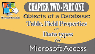 objects of a database table field properties and field types