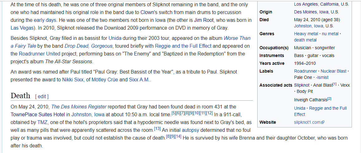 The Mindless Freaks: Wikipedia has Paul Gray's death as