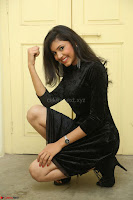 Mounika in a velvet short black dress for Tick Tack Movie Press Meet March 2017 061.JPG