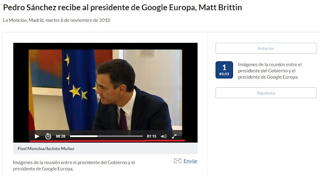 video sin subtitulado de pedro Danchez con el presidente de Google europa