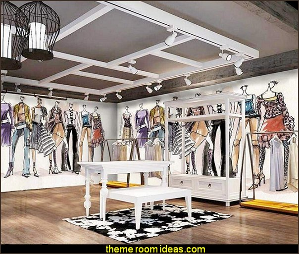 Fashion Creative Cartoon Pattern wallpaper Mural  Fashionista - Diva Style bedroom decorating - runway theme bedroom ideas - shoe decor - Fashion Diva bedroom ideas - Fashionista Runway bedroom decorating -  Boutique Decor - girls boutique theme bedroom ideas - fashion artwork - Paris  fashionista bathroom decor -  shopping boutique style playroom -  chanel wall decal stickers
