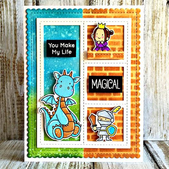 Birdie Brown Magical Dragons stamp set and Die-namics, Blueprints 27 Die-namics - Diana Sharapova #mftstamps