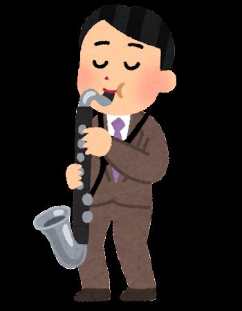 バスクラリネットを演奏する男性のイラスト(大人の吹奏楽)