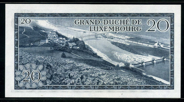 Luxembourg currency bill 20 Francs banknote