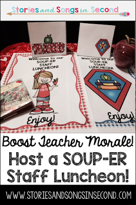 Serve up a soup smorgasbord at your next staff luncheon to boost teacher morale and build camaraderie! Comfort food is key to keeping your colleagues' stress levels low and their happiness high!
