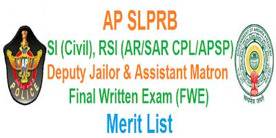 AP SI RSI Deputy Jailor & Asst.Matron Merit list 2017