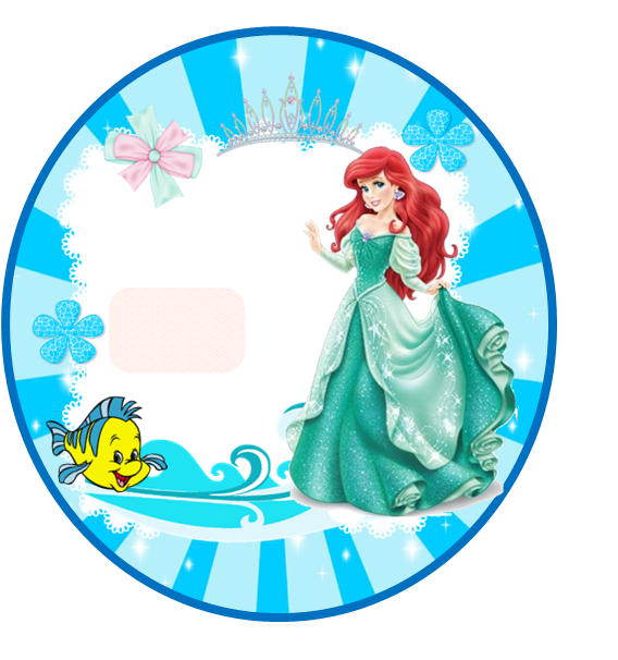 Toppers or Free Printable  Labels for a The Little Mermaid.