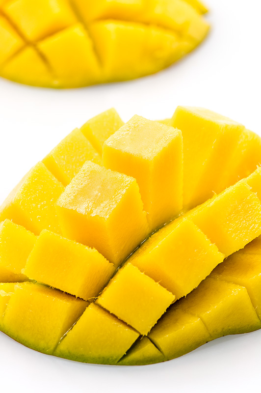 Mango fruit sliced in shape