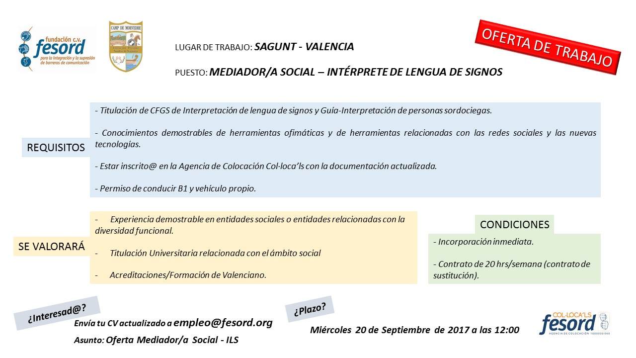 FESORD busca Mediador Social-Intérprete de Lengua de Signos para Sagunt (Valencia) OFERTA%2BSAGUNT%2B2017%2BMEDIADORA%2B-%2BILS
