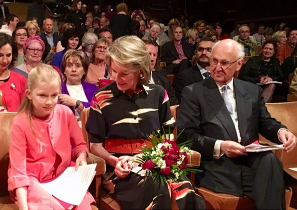 Queen Mathilde and Princess Eléonore attended the semi final of The Queen Elisabeth Chant 2018 contest held at Brussels Flagey