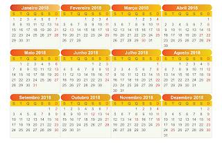 Calendário 2018 Pt-BR CDR,Ai,PDF,PNG e PSD