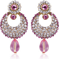 Femme-Bright-Sparkles-Zircon-Alloy-Chandbali-Earring-75%-off