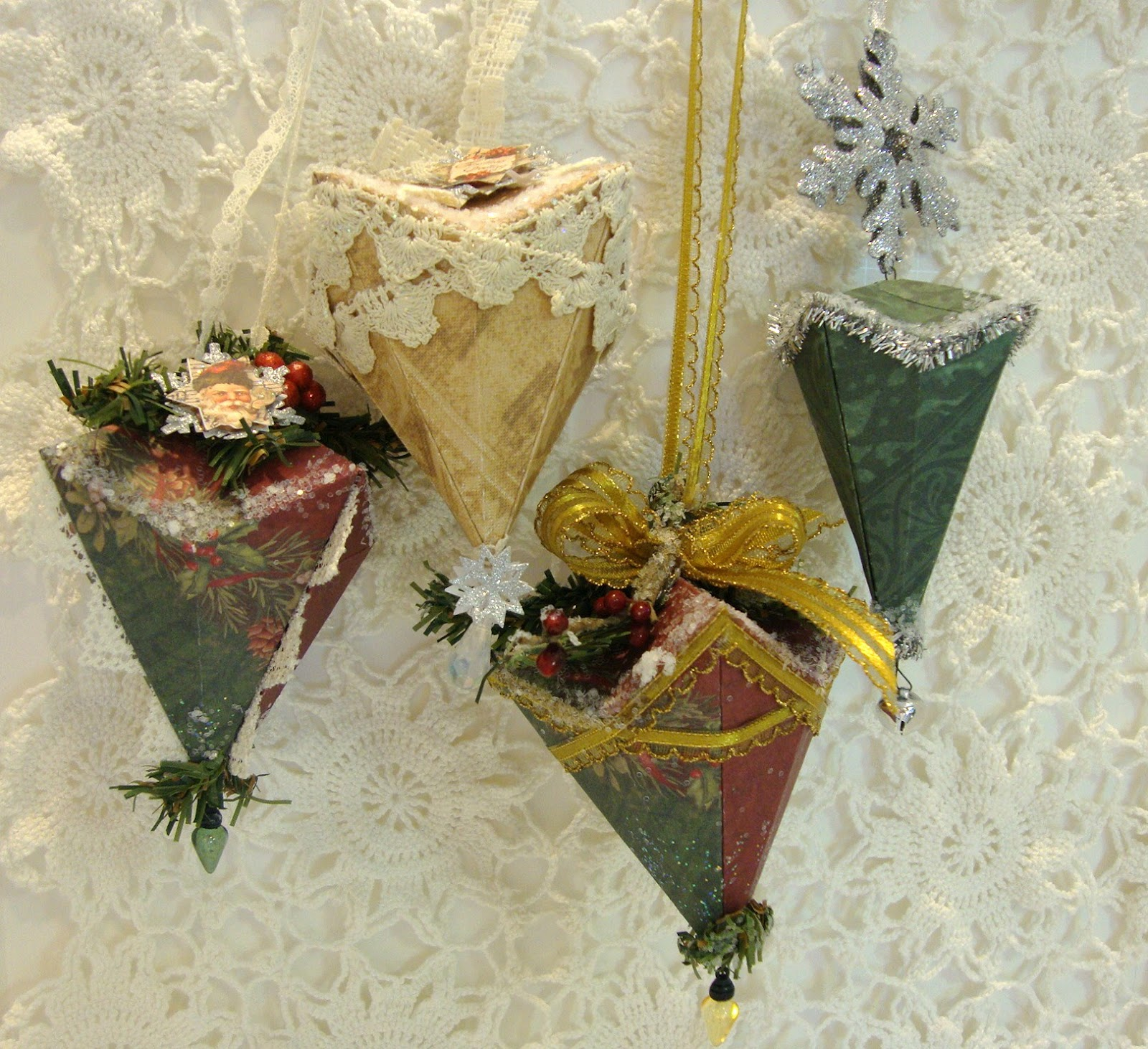 Shabby Tea Party: My Folded Paper Christmas Ornaments