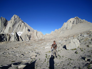 At the plateau above the slope. Mt. Whitney (left) and Mt. Russell (right) becomes visible.