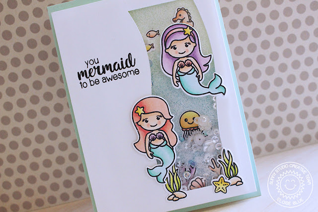 Sunny Studio Stamps: Magical Mermaids Ocean Shaker Card with Eloise Blue