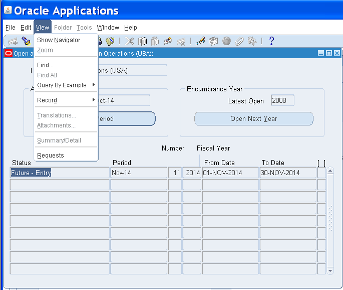 How can Open Oracle Apps General Ledger , Inventory and
