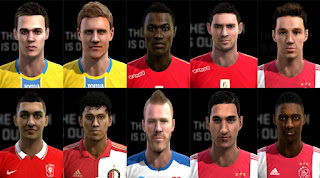 Faces: Bazoer, Dubra, El Ghazi, Fai, Ivanic, Kosanovic, Nemec, Tapia, Viergever, Ziyech, Pes 2013