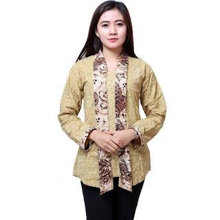 Contoh Model Baju Batik Wanita Kombinasi
