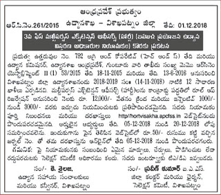 Andhra Pradesh Vizag Horticulture Department MPEO Multipurpose Extension Officer Recruitment 2018 12 Govt Jobs