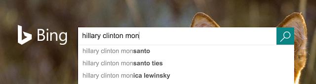 Bing adivinha que seu usuário está procurando sobre Monsanto ou Monica Lewinsky.
