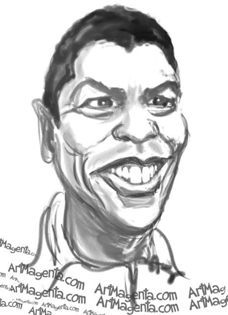 Denzel Washington caricature cartoon. Portrait drawing by caricaturist Artmagenta.