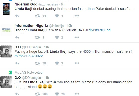 Linda Ikeji starts trending on Twitter after alleged N75m tax penalty