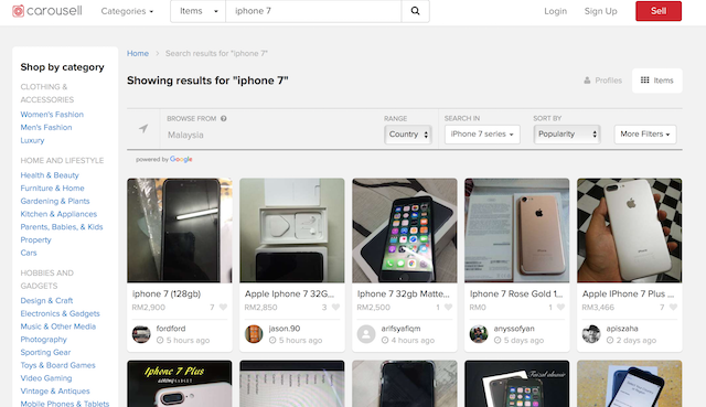 Just search up the keyword 'iPhone 7' and you get a whole screen of search results