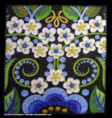 Front of Margaret Cobleigh's version of Wild Child completed. (Wild Child Japanese Bead Embroidery by Mary Alice Sinton)