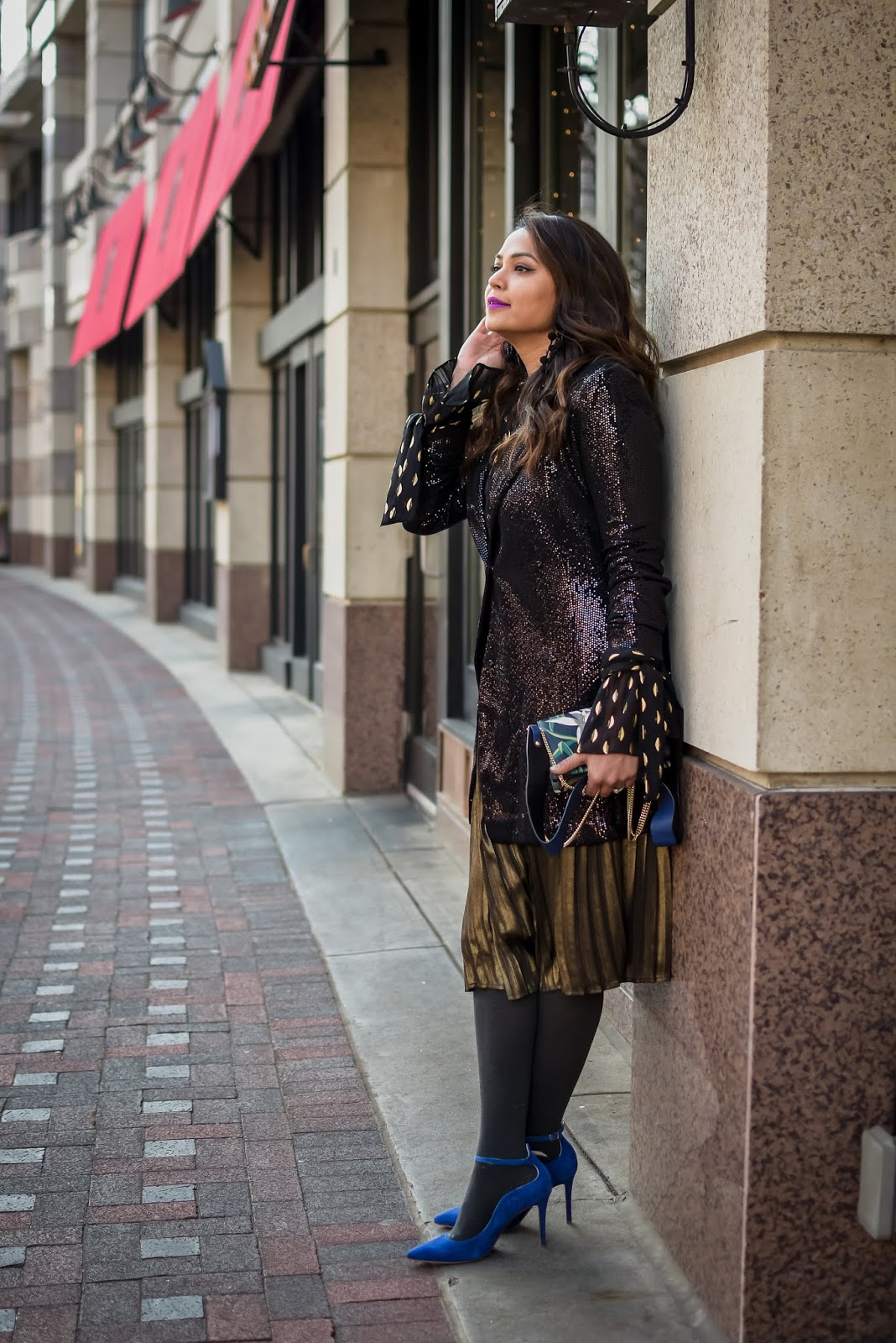 holiday outfit no 3, sequin boyfriend blazer, holiday look, pleated metallic midi skirt, blue anklt strap pumps, style, street style, fashion, DC blogger, Saumya Shiohare, myriad musings .