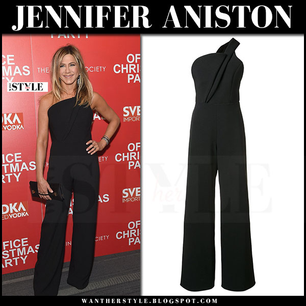Jennifer Aniston in black one shoulder jumpsuit brandon maxwell what she wore red carpet