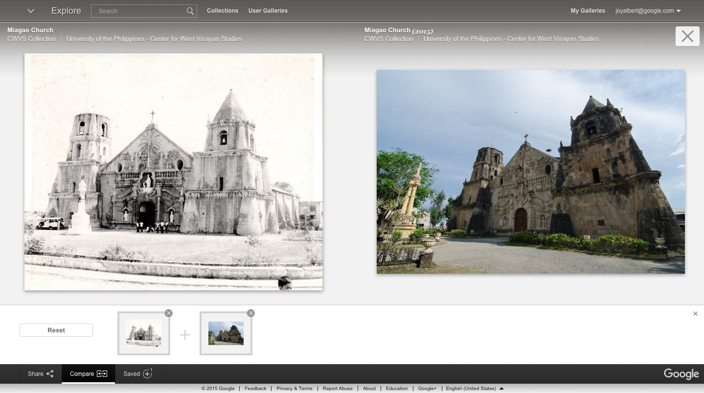 A comparison of Miag-ao Church then and today