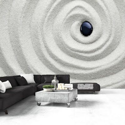 3D effect wallpaper design for living room walls