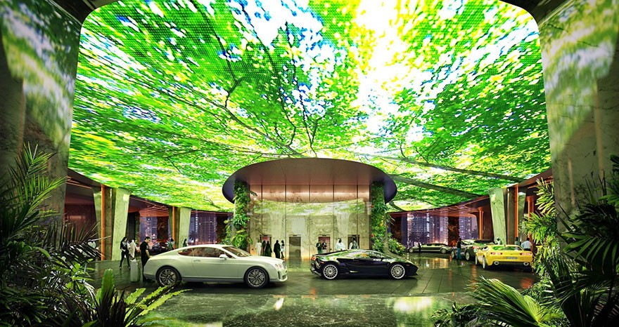 Dubai Has Plans To Open The World's First Hotel With A Rainforest Inside Of It - And valet will be conducted beneath a massive screen featuring marine life or vegetation.