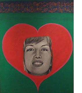 Monica Vitti with Heart, Pauline Boty, oil on canvas, 1963