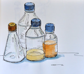 Ink and watercolour flasks
