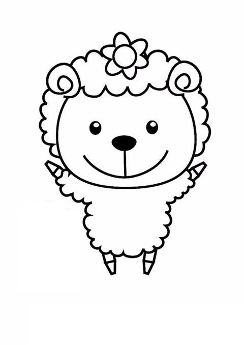 Tranh tô màu con cừu đơn giản